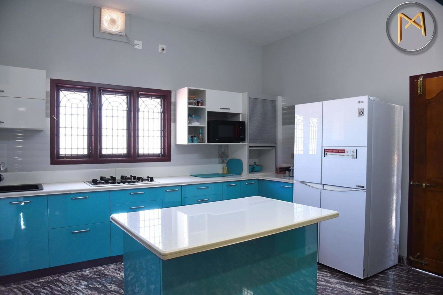 Modular kitchen with torquiose shades by Syed Illias Modular-kitchen Modern | Interior Design Photos & Ideas
