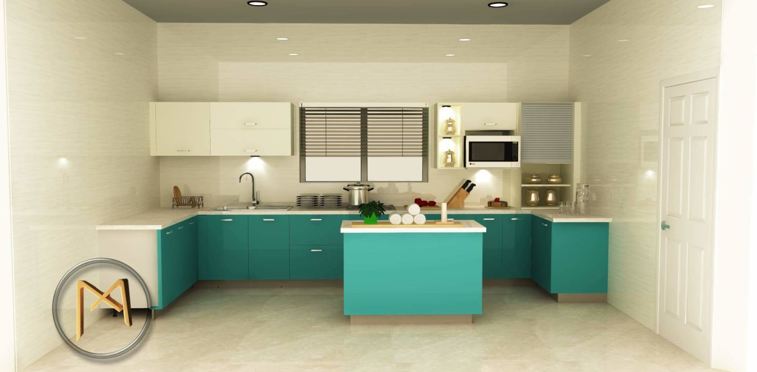 Modular kitchen with turquoise shades by Syed Illias Modular-kitchen Modern | Interior Design Photos & Ideas