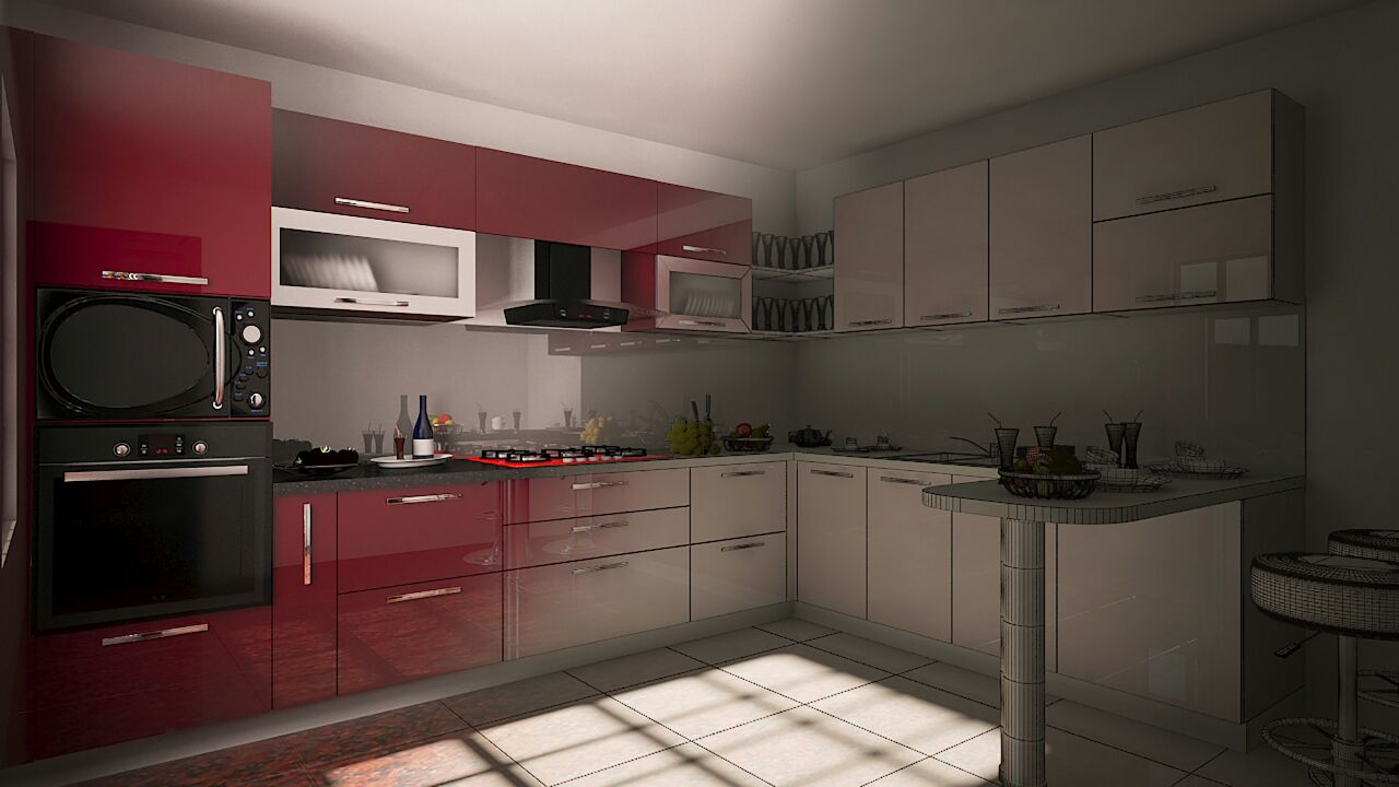 Modular kitchen with red shades by Syed Illias Modular-kitchen Modern | Interior Design Photos & Ideas