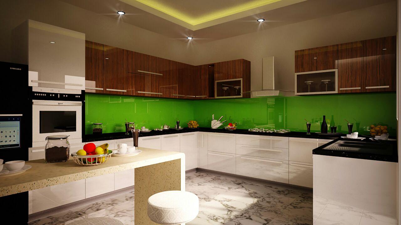 Modular kitchen with green hues by Syed Illias Modular-kitchen Modern | Interior Design Photos & Ideas