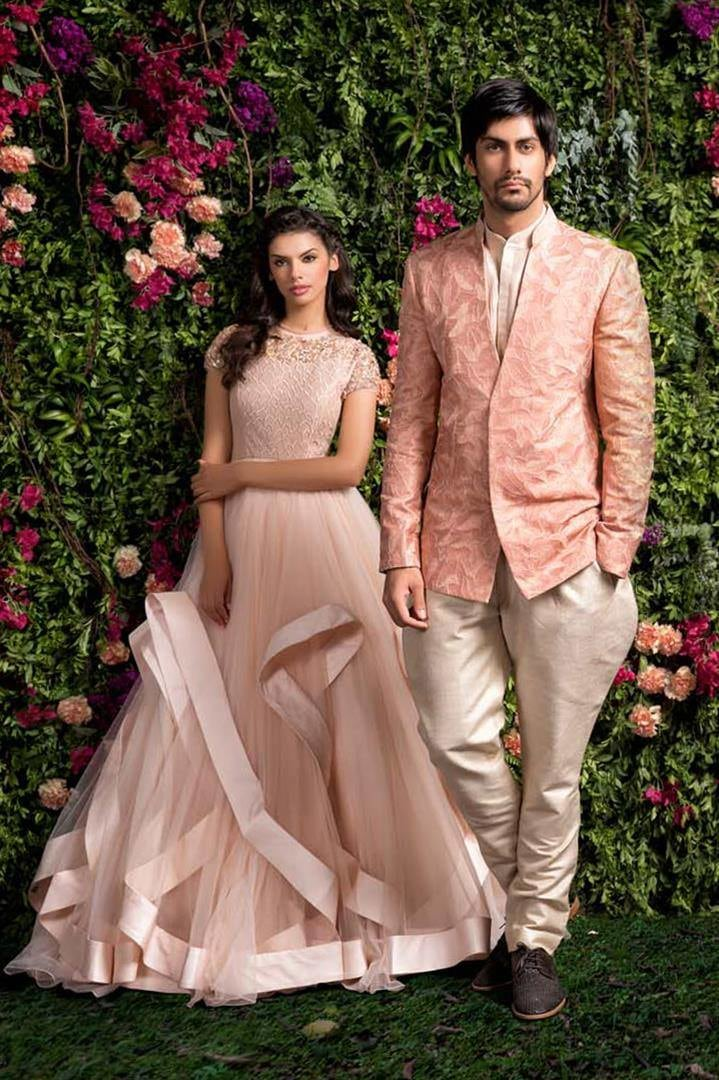 Blush Pink Bridal Gown And Groom's Suit. by Shyamal & Bhumika Wedding-dresses | Weddings Photos & Ideas