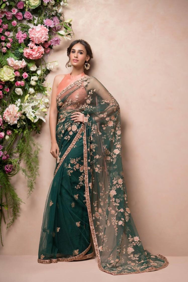 Bottle Green Bridal Saree. by Shyamal & Bhumika Wedding-dresses | Weddings Photos & Ideas