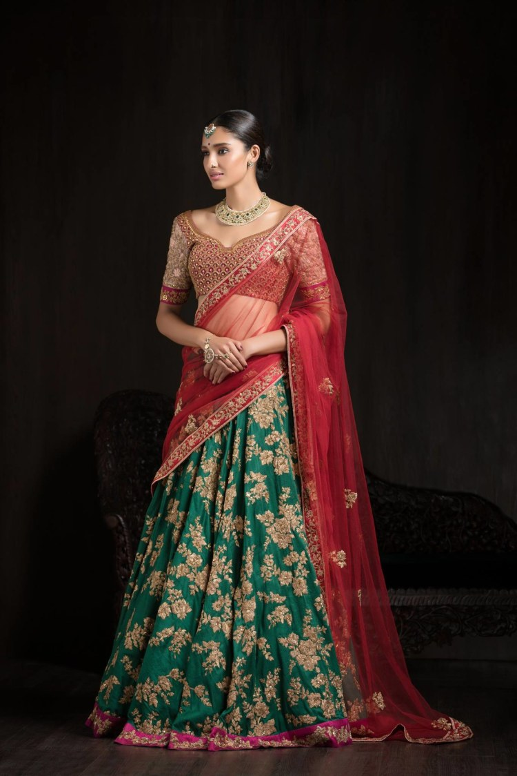 Green and Red Embroidered Bridal Lehenga. by Shyamal & Bhumika Wedding-dresses | Weddings Photos & Ideas