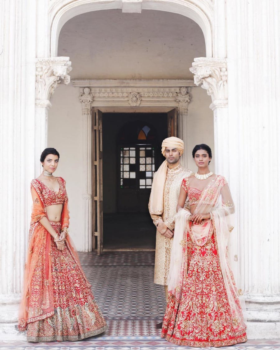 Crimson Shaded Embroidered Bridal Lehenga. by Shyamal & Bhumika Wedding-dresses | Weddings Photos & Ideas