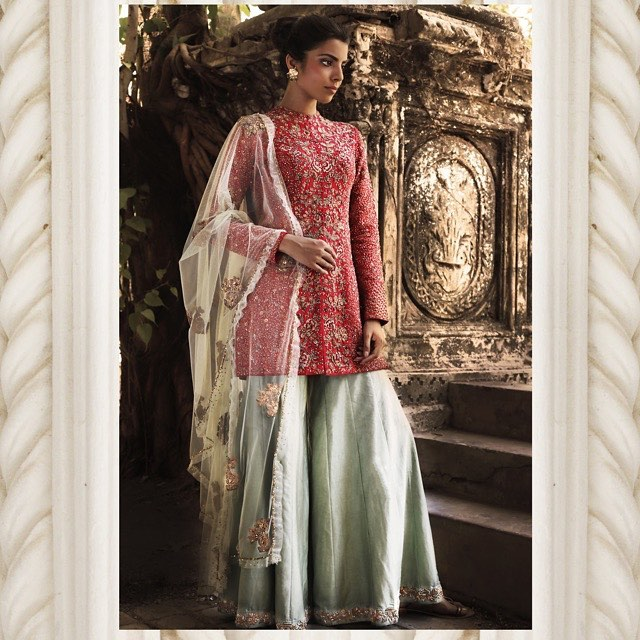 Crimson Shaded Embroidered Indo-Western Bridal Wear. by Shyamal & Bhumika Wedding-dresses | Weddings Photos & Ideas