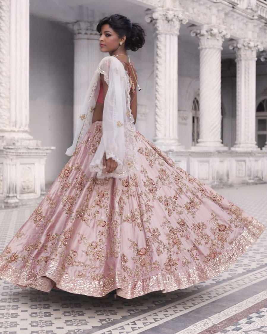 Baby Pink Embroidered Bridal Lehenga. by Shyamal & Bhumika Wedding-dresses | Weddings Photos & Ideas