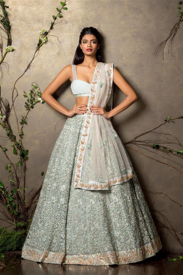 Pastel Shaded Embroidered Bridal Lehenga. by Shyamal & Bhumika Wedding-dresses | Weddings Photos & Ideas