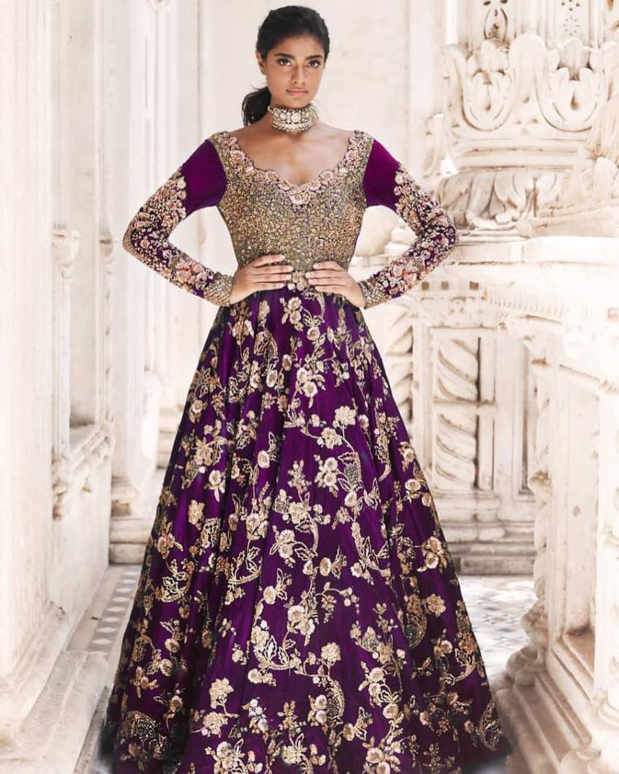 Purple Embroidered Bridal Gown by Shyamal & Bhumika Wedding-dresses | Weddings Photos & Ideas
