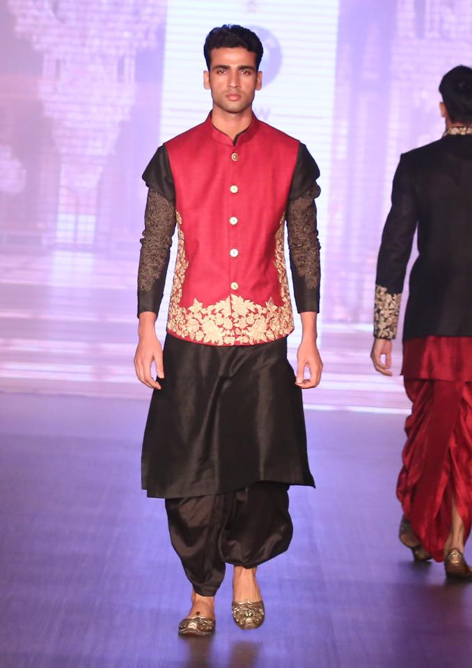 Crimson Red and Black Indo Western Groom's Wear by Shyamal & Bhumika Wedding-dresses | Weddings Photos & Ideas