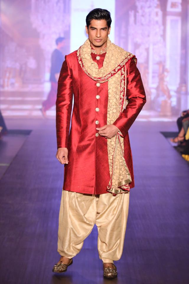 Crimson Red and Golden Groom's Sherwani by Shyamal & Bhumika Wedding-dresses | Weddings Photos & Ideas