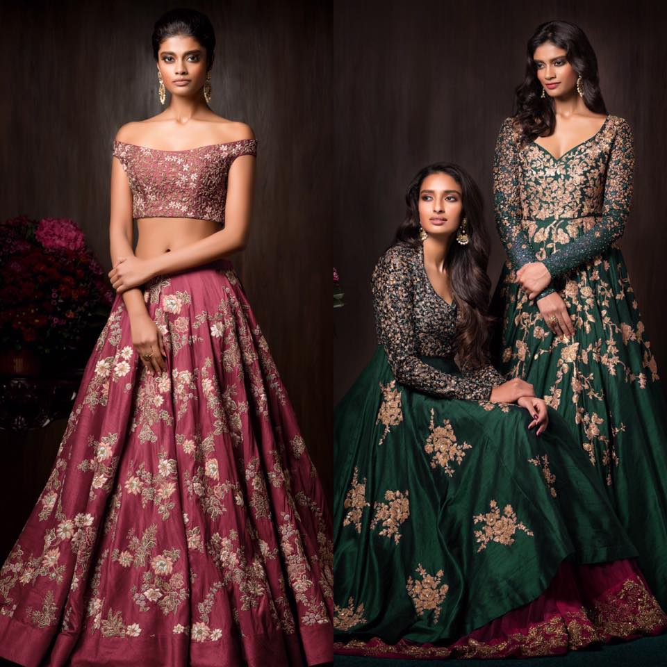 Rose Pink and Emerald Green Heavily Embroidered Bridal Wear by Shyamal & Bhumika Wedding-dresses | Weddings Photos & Ideas