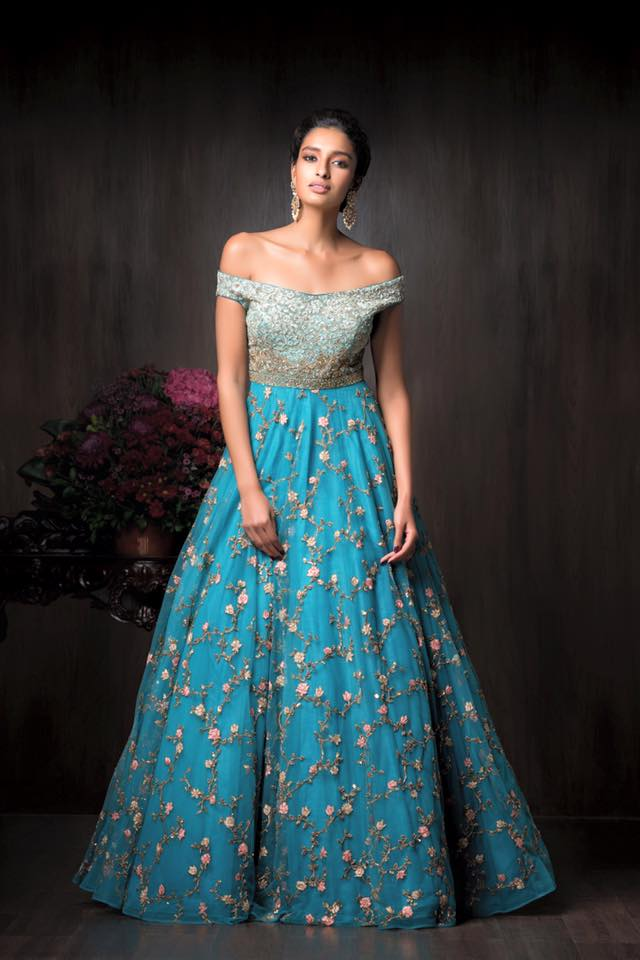 Shimmering Sky Blue Gown With Embroidery Work by Shyamal & Bhumika Wedding-dresses | Weddings Photos & Ideas