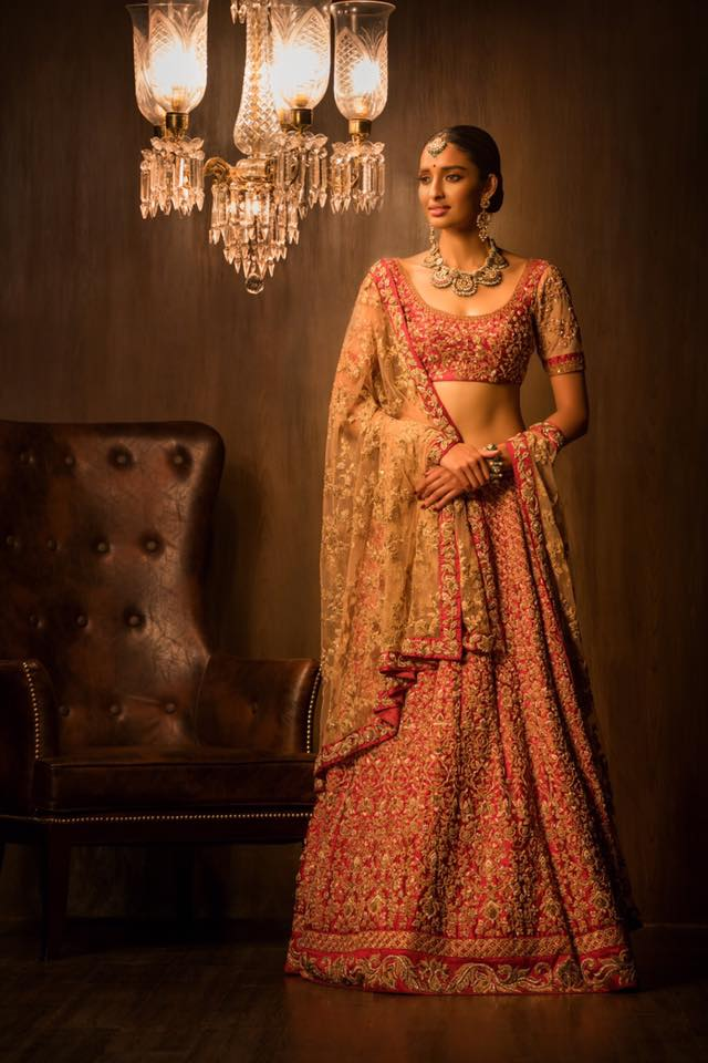 Red Embroidered Bridal Lehenga by Shyamal & Bhumika Wedding-dresses | Weddings Photos & Ideas