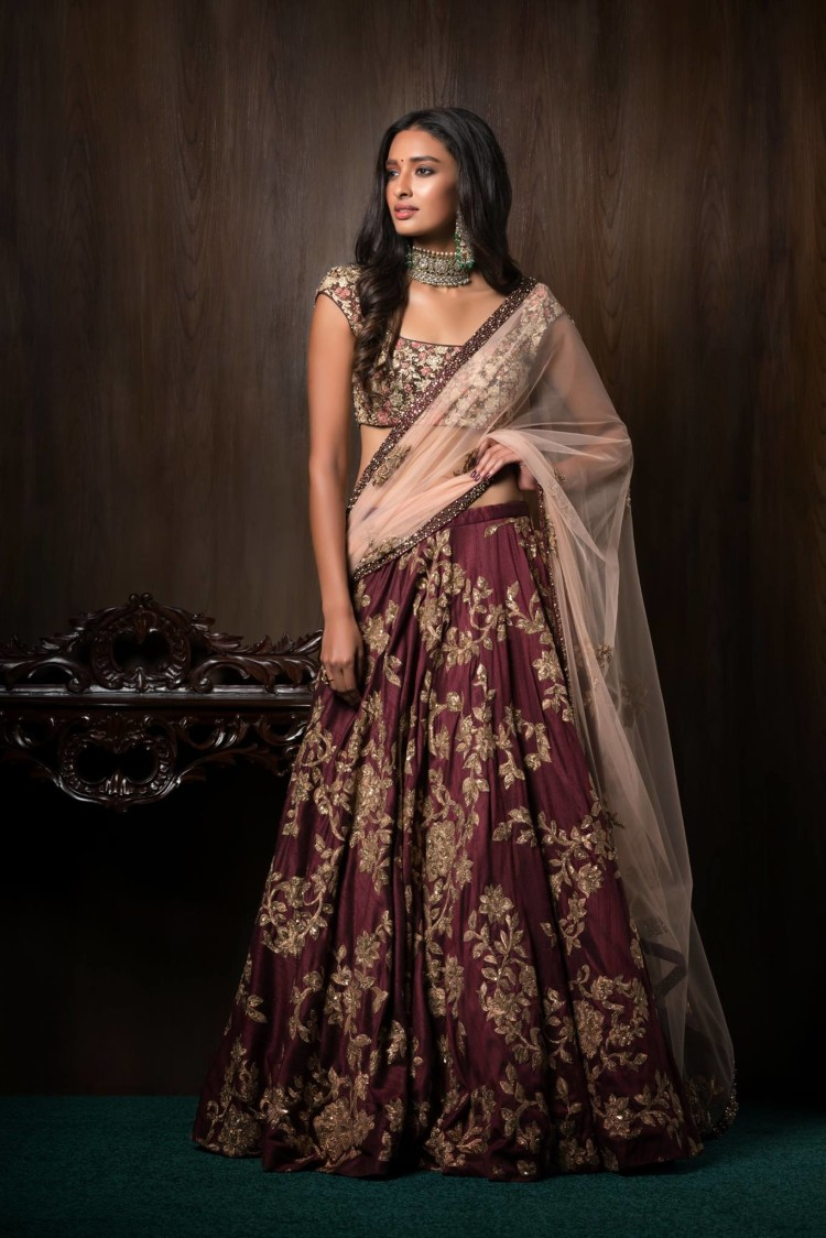 Merlot Embroidered Bridal Lehenga by Shyamal & Bhumika Wedding-dresses | Weddings Photos & Ideas