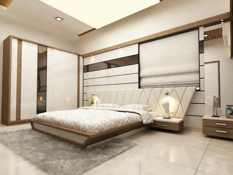 Cotton Shade Interior In Bedroom With Marble Flooring by Jaldeep patel Bedroom Contemporary | Interior Design Photos & Ideas