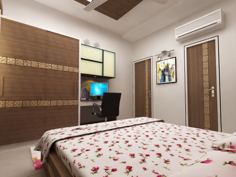Wooden Wardrobe And Sleek Furniture In Bedroom by Jaldeep patel Bedroom Contemporary | Interior Design Photos & Ideas