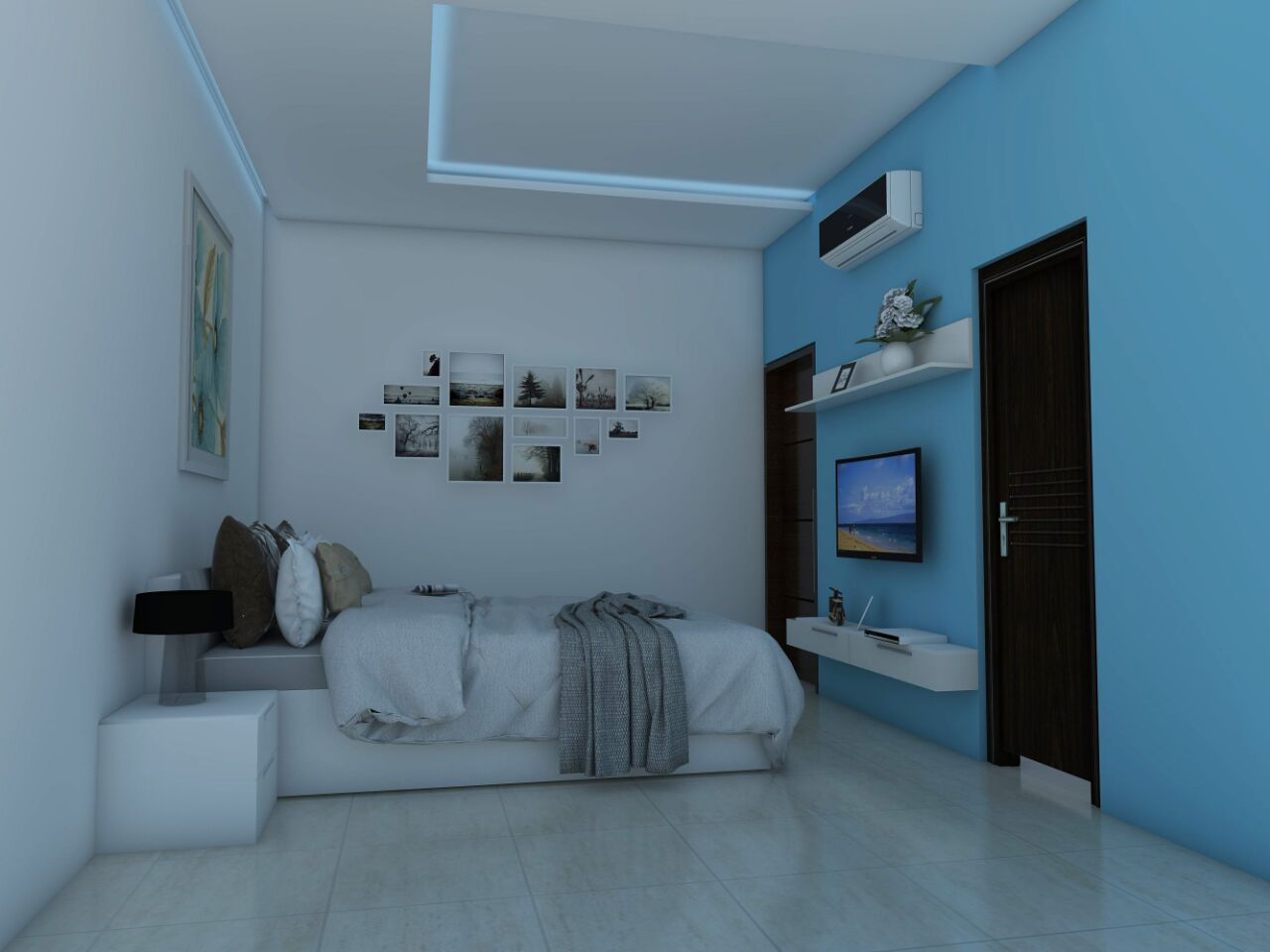 Sky blue themed 3D model of a master bedroom with polished whire tiled floor by L Santosh Kumar Bedroom Modern | Interior Design Photos & Ideas