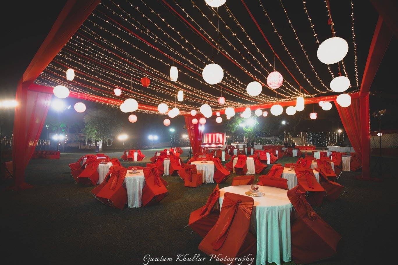 Red And White Theme Wedding Decor With Hanging Lanterns by Gautam Khullar Wedding-photography Wedding-decor | Weddings Photos & Ideas