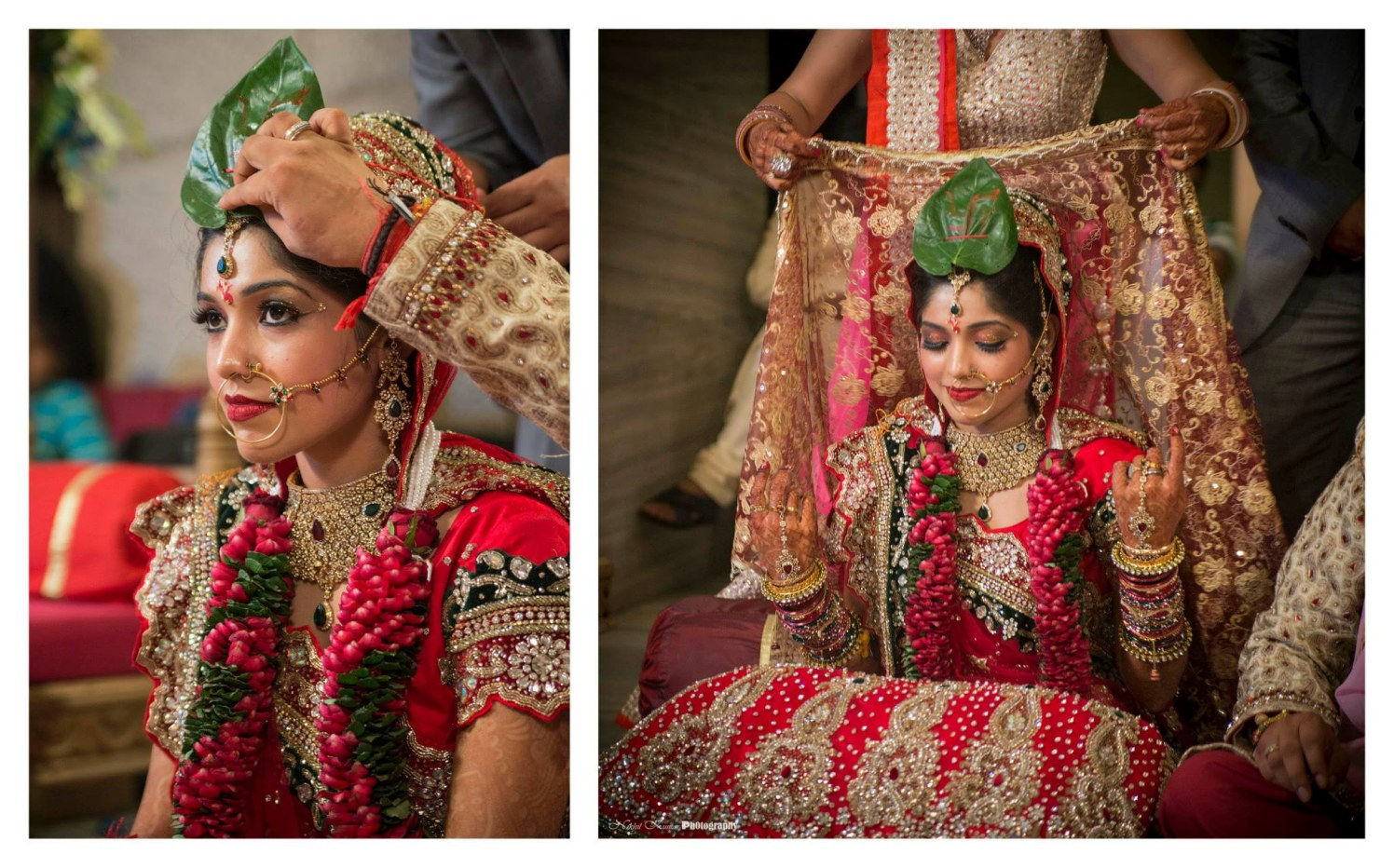 Wedding Rituals In Red And Green Themed Jewellery And Lehenga by Nikhil Kumar Wedding-photography Bridal-jewellery-and-accessories Bridal-makeup | Weddings Photos & Ideas