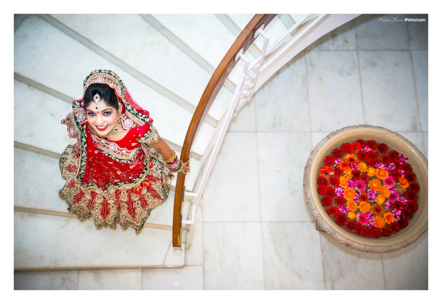 Aesthetic Red And Green Lehenga by Nikhil Kumar Wedding-dresses | Weddings Photos & Ideas