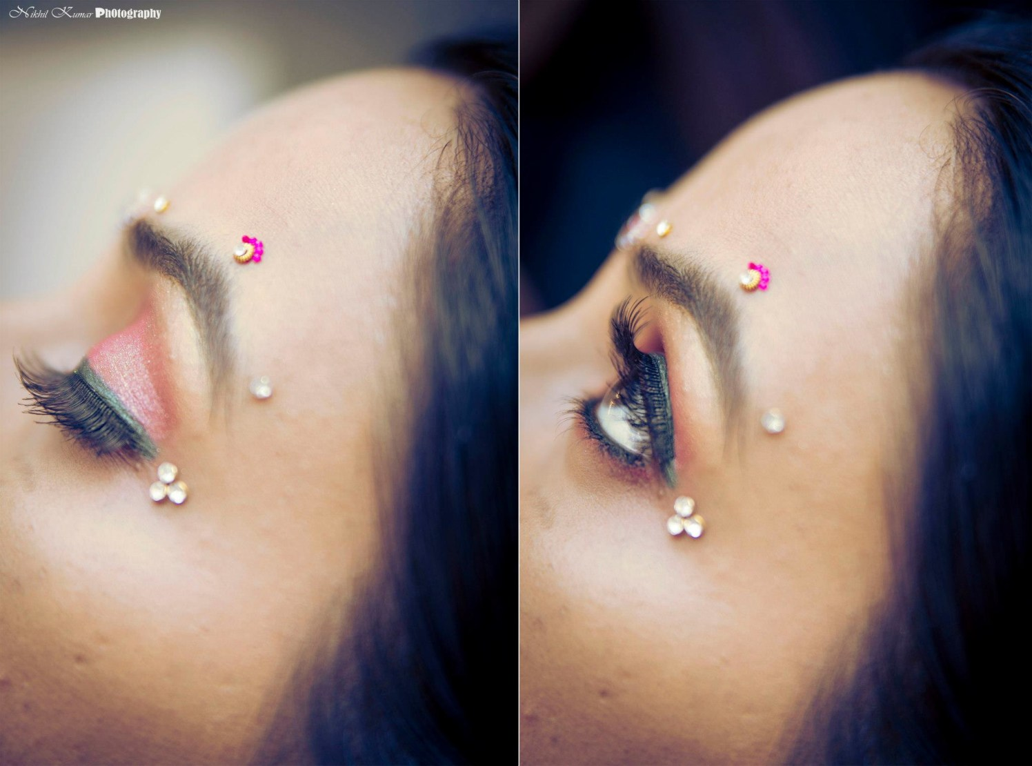 Blush Pink Eyeshadow WIth  Tri-Gold Bindi by Nikhil Kumar Bridal-makeup | Weddings Photos & Ideas