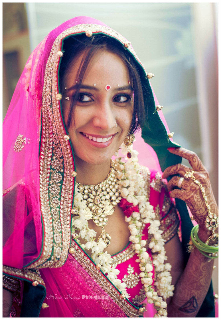 Gorgeous Bride In Bubblegum Pink by Nikhil Kumar Bridal-makeup Bridal-jewellery-and-accessories | Weddings Photos & Ideas