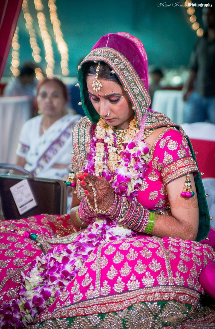 Majenta Lehenga With Golden Work by Nikhil Kumar Wedding-dresses | Weddings Photos & Ideas