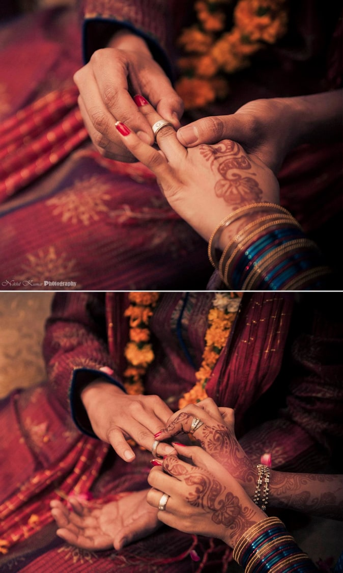 Couple Exchanging Rings by Nikhil Kumar Wedding-photography Bridal-jewellery-and-accessories Groom-wear-and-accessories | Weddings Photos & Ideas