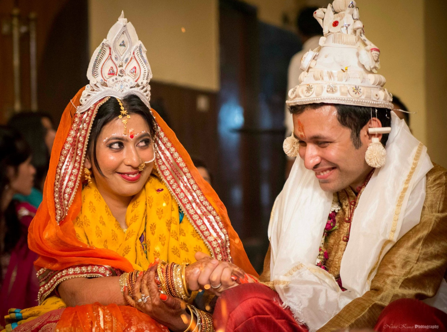 Indian Couple With Ivory Headpiece by Nikhil Kumar Wedding-photography Bridal-jewellery-and-accessories Groom-wear-and-accessories | Weddings Photos & Ideas