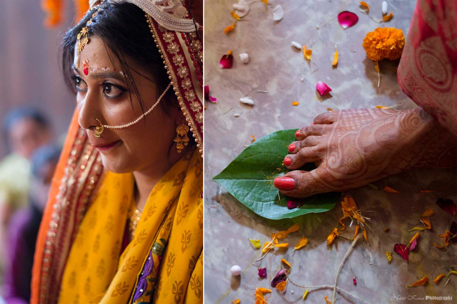 Pearl And Gold Nath by Nikhil Kumar Wedding-photography Bridal-mehendi | Weddings Photos & Ideas
