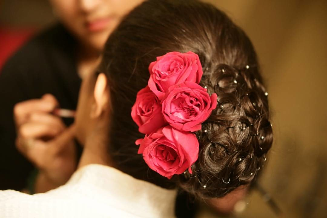 Twisted Bridal Bun Hairstyle With Roses by Anchal Kumar Wedding-hairstyles | Weddings Photos & Ideas