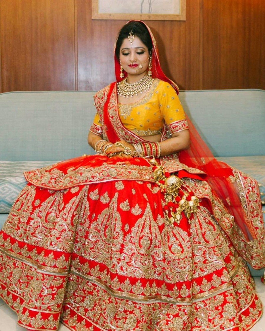 Red And Yellow Bridal Lehenga With Golden Embroidery by Anchal Kumar Wedding-dresses | Weddings Photos & Ideas