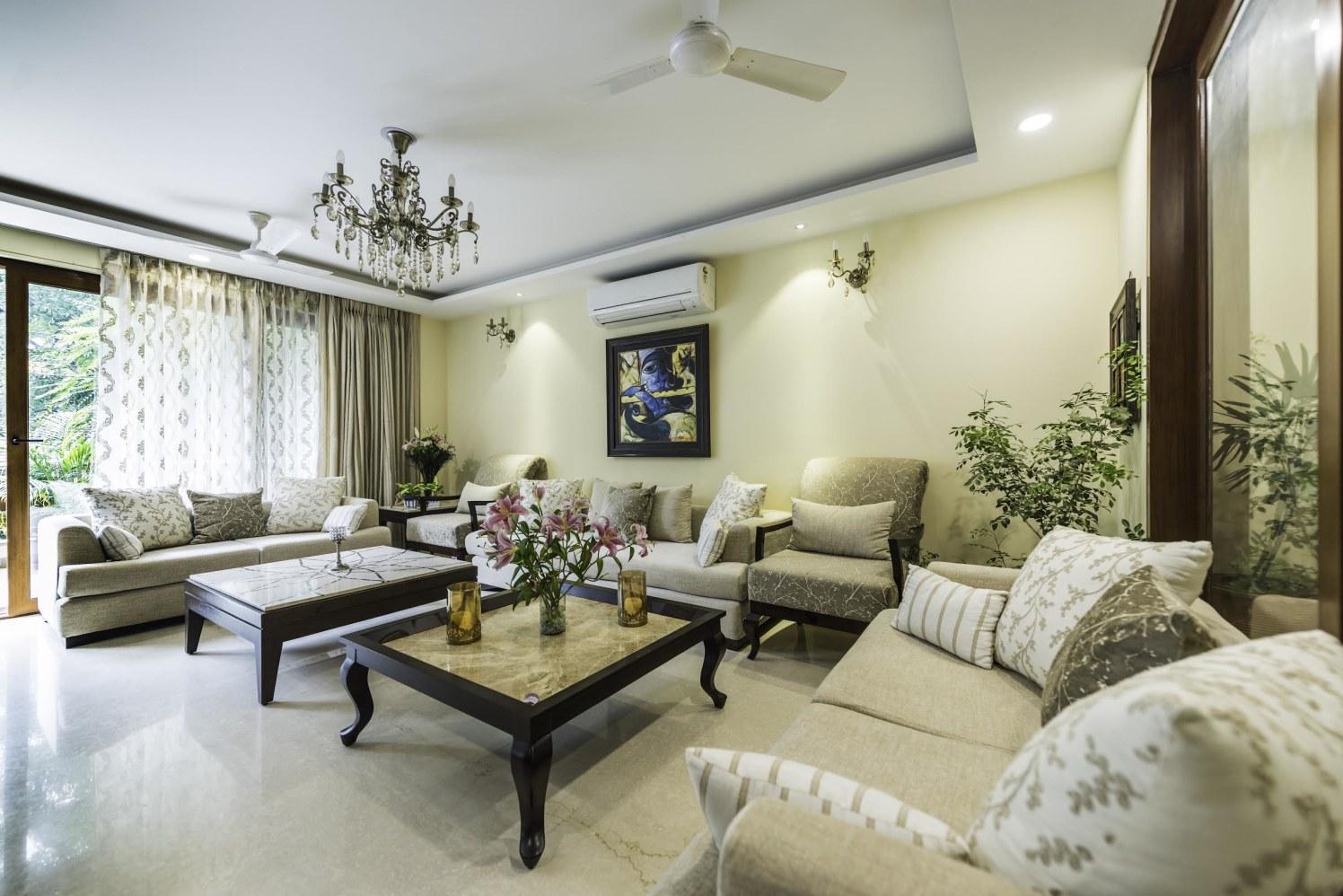 Living Room With Bulky Beige Furniture by Vijay Kapur Living-room Contemporary   Interior Design Photos & Ideas