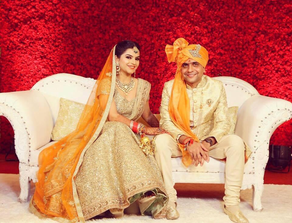 Twinning in golden by Shruti Sharma Bridal-makeup | Weddings Photos & Ideas