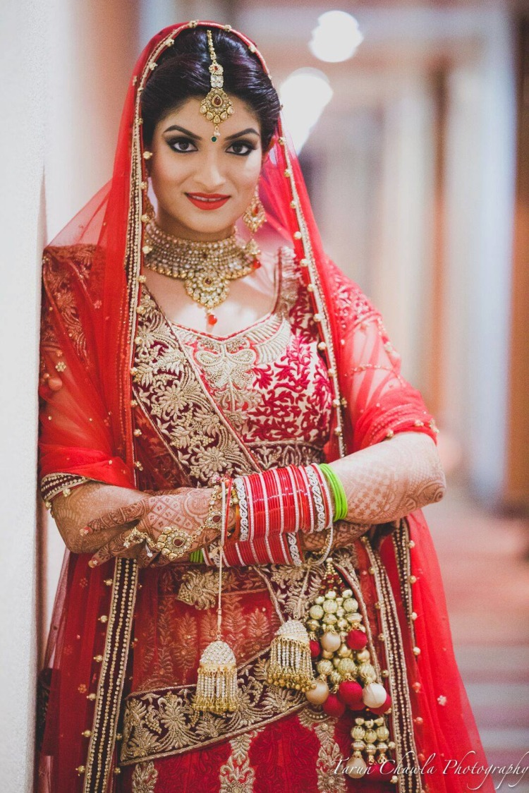 Dazzling in red by Shruti Sharma Bridal-makeup | Weddings Photos & Ideas