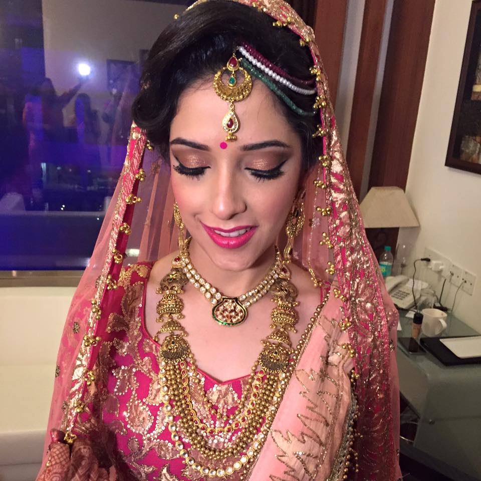 Pink attire adds on to her beauty by Sakshi Sagar Bridal-makeup | Weddings Photos & Ideas