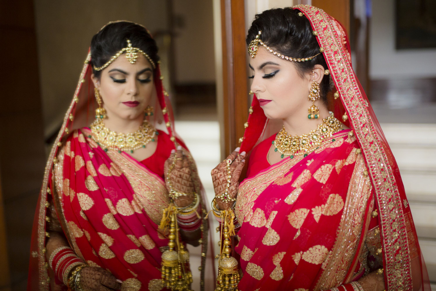 Ravishing Bride Wearing Gold Kundan Jewellery by Arpit Gulati Wedding-photography Bridal-jewellery-and-accessories Bridal-makeup | Weddings Photos & Ideas