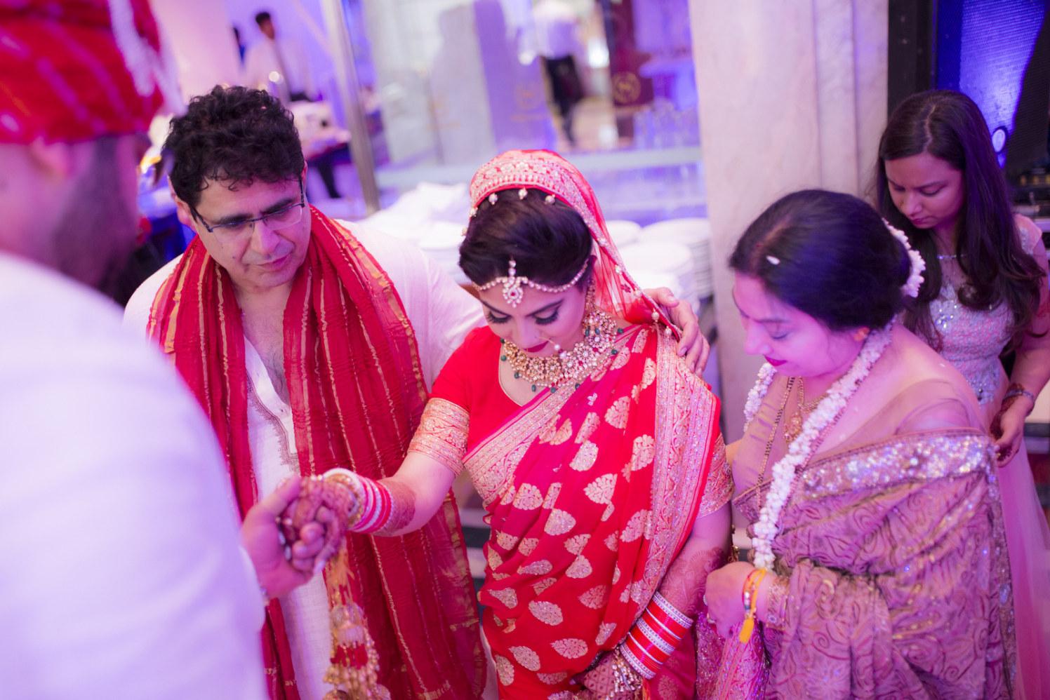 Ravishing Bride In Crimson Red Lehenga With Golden Embroidery by Arpit Gulati Wedding-photography   Weddings Photos & Ideas