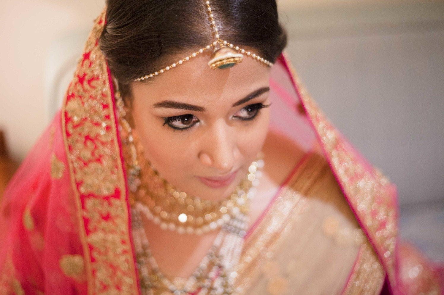 Gracious Bride In Pink Attire With Golden Embroidery by Arpit Gulati Bridal-makeup Bridal-jewellery-and-accessories | Weddings Photos & Ideas