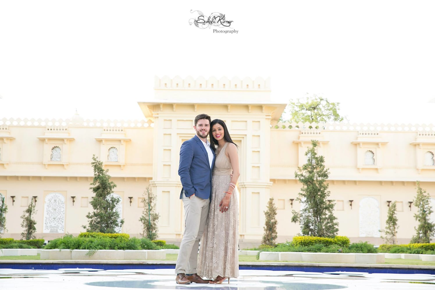Beige Floor Length Gown With Floral Self-Print For A Pre-Wedding Shoot by Sakshi Kumar Wedding-photography | Weddings Photos & Ideas