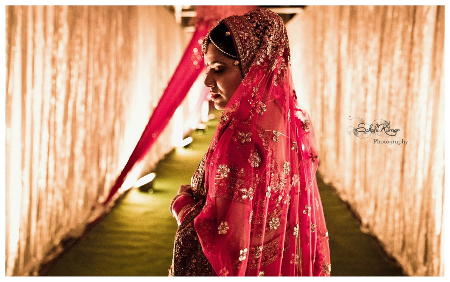 Gorgeous Bride In Pink Lehenga Lavished Golden Gottapatti by Sakshi Kumar Wedding-photography | Weddings Photos & Ideas