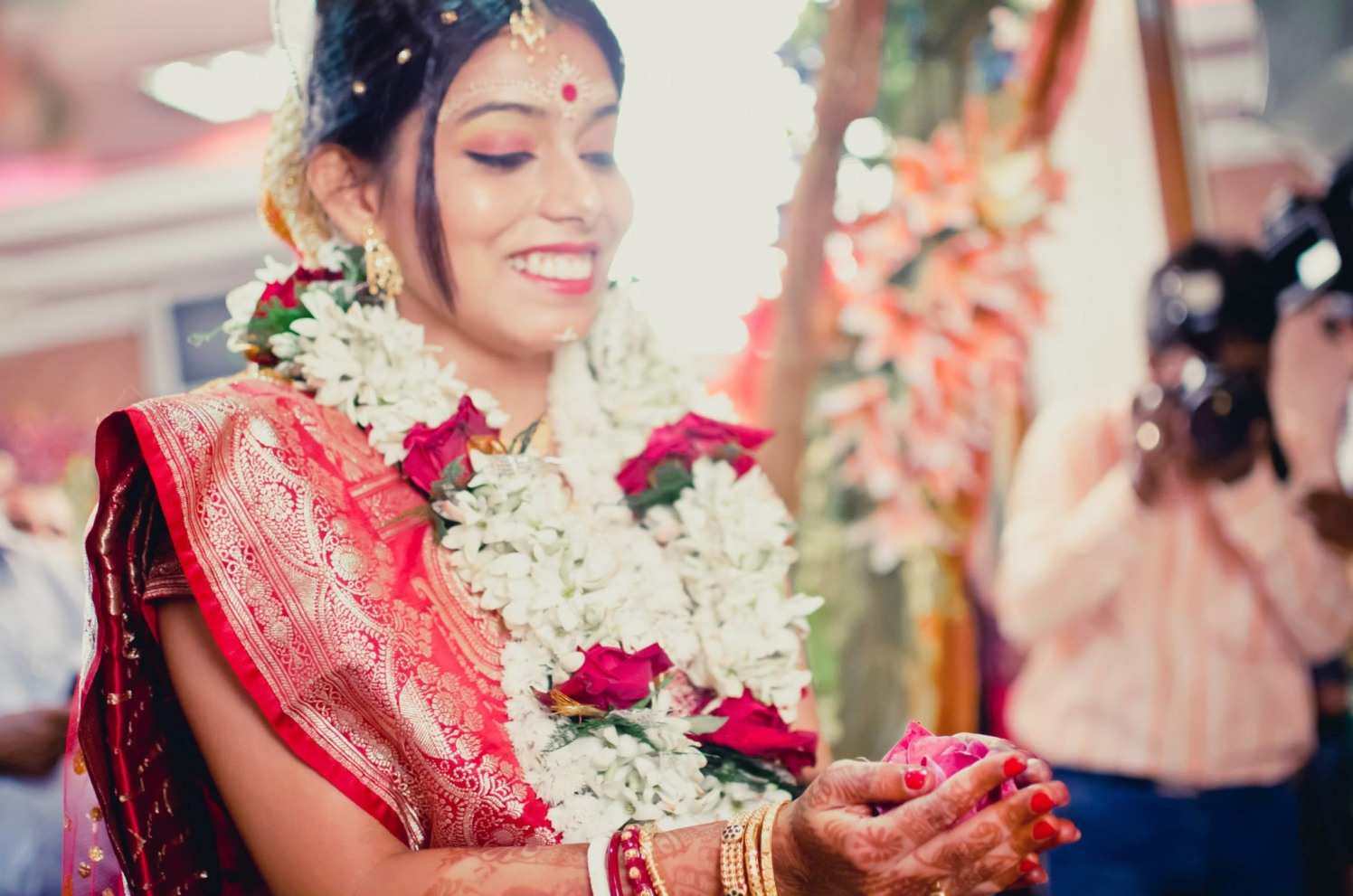 Happy indian bride by Click n' Cherish Wedding-photography | Weddings Photos & Ideas