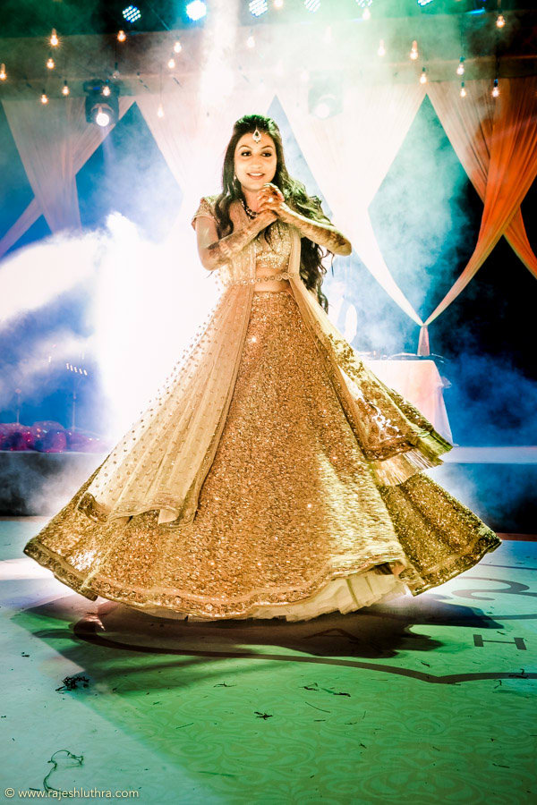Golden Flared Lehenga by Rajesh Luthra Wedding-photography | Weddings Photos & Ideas