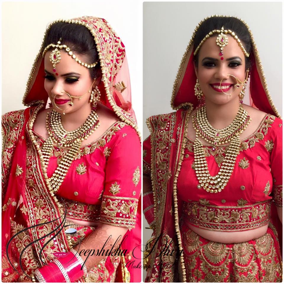 Bride looking exquisite in pink lehenga by Deepshikha Dhiri Bridal-makeup | Weddings Photos & Ideas
