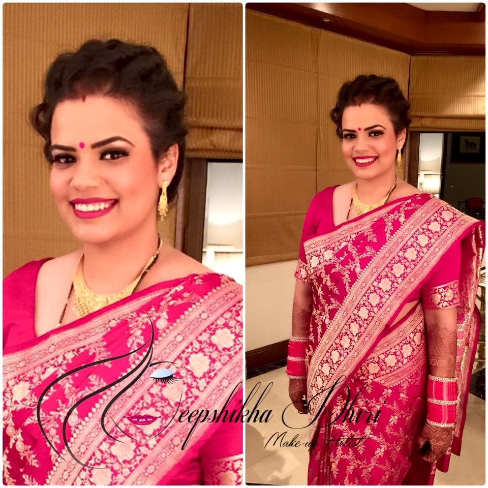 Charming bride in pink saree for her reception by Deepshikha Dhiri Bridal-makeup | Weddings Photos & Ideas