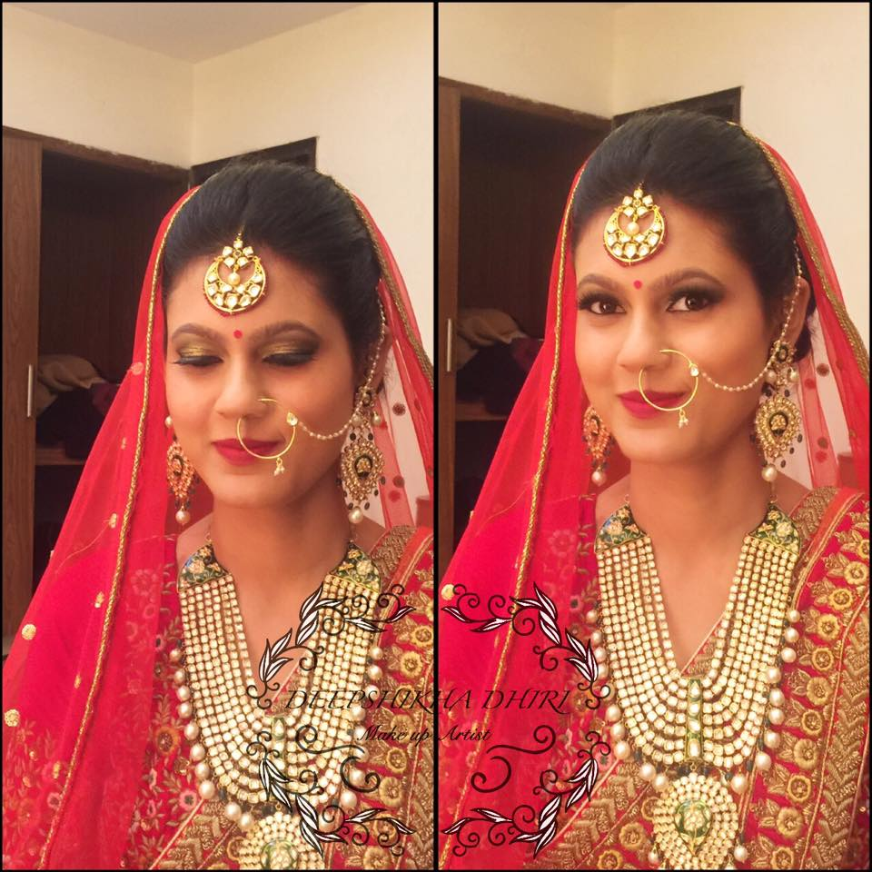 Bride looking pretty in red lehenga by Deepshikha Dhiri Bridal-makeup | Weddings Photos & Ideas