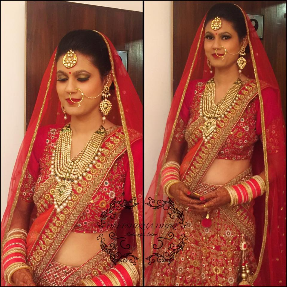 Bride Prettied Up In Red Attire by Deepshikha Dhiri Bridal-makeup | Weddings Photos & Ideas