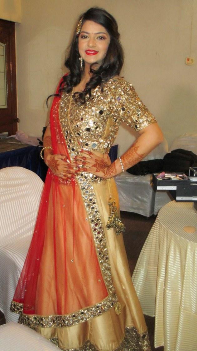 Blood red lip color enhancing her look by Richa Malik Wedding-photography   Weddings Photos & Ideas