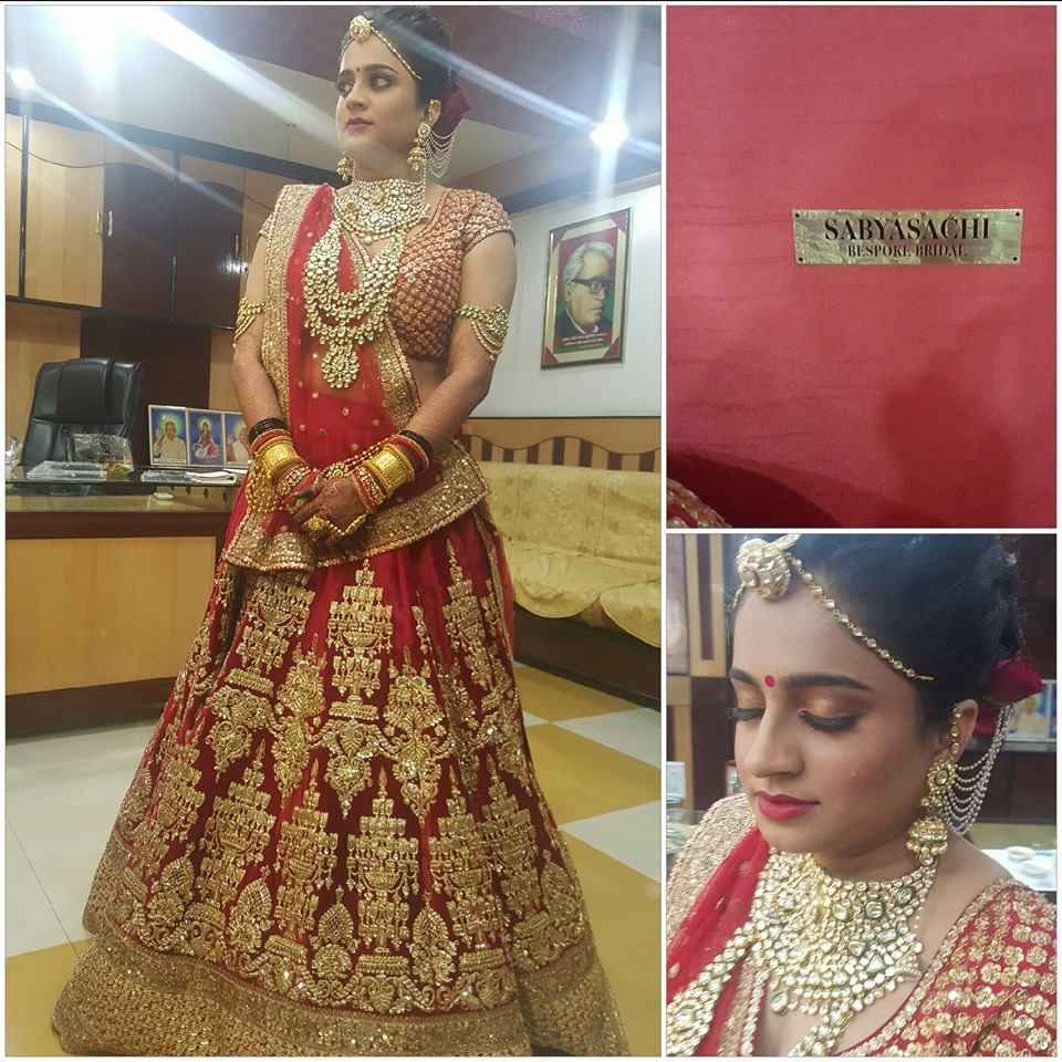 Bride in red lehenga by Nishi Singh Bridal-makeup | Weddings Photos & Ideas