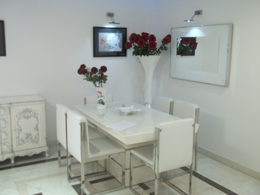 White Themed Dining Room by Abhinav Jain Dining-room | Interior Design Photos & Ideas
